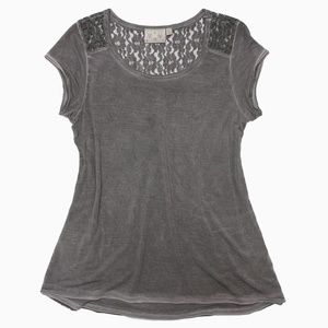 DANTELLE Brownish Gray lacey distressed T-shirt, S